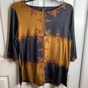 Lauren Michelle XL gold and black embroidered top